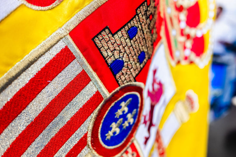 Close-up of multi colored flags