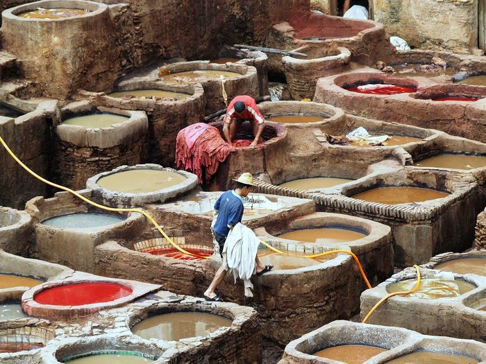 High angle view of man working at factory