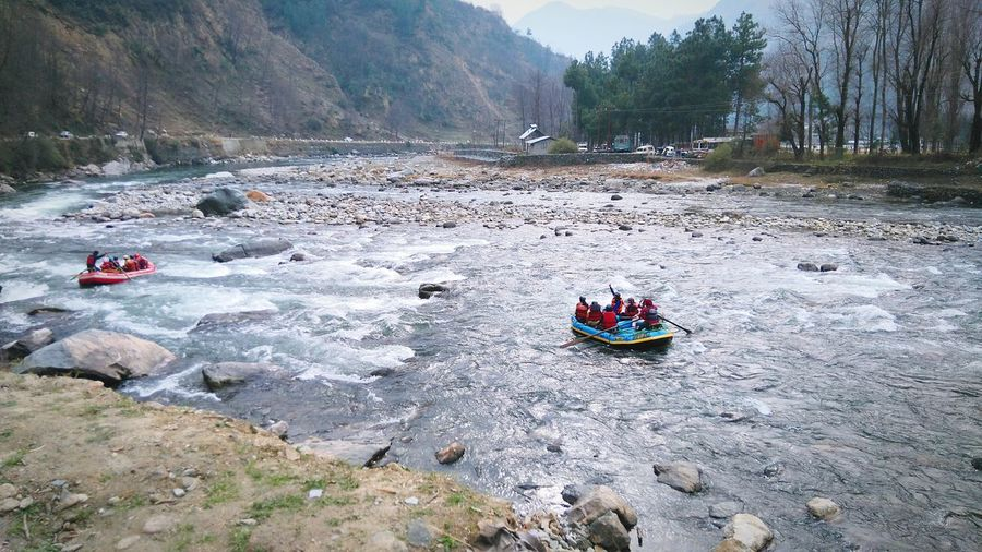 High angle view of people rafting in beas river