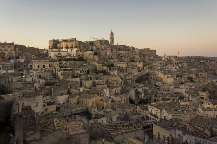 Matera Italy Unesco UNESCO World Heritage Site Cityscape Urban Overview Architecture Building Exterior Built Structure City Sky Building Residential District Clear Sky Crowd Crowded Nature Town Travel Destinations Community History The Past Old High Angle View Outdoors TOWNSCAPE