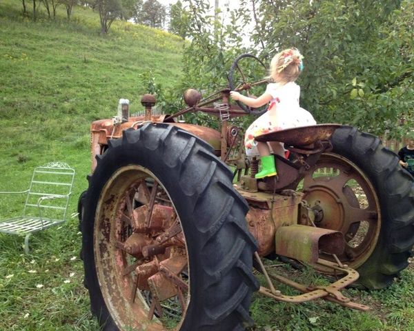 Childhood Farm Life Tractors Blond Girl