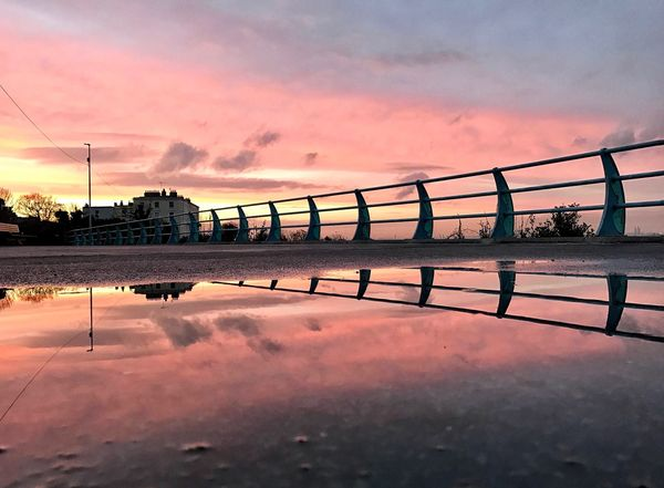 Sunset Reflection Sky Water Dusk Cloud - Sky Built Structure Architecture Outdoors Bridge - Man Made Structure Connection Transportation Nature No People Waterfront Beauty In Nature Scenics Day