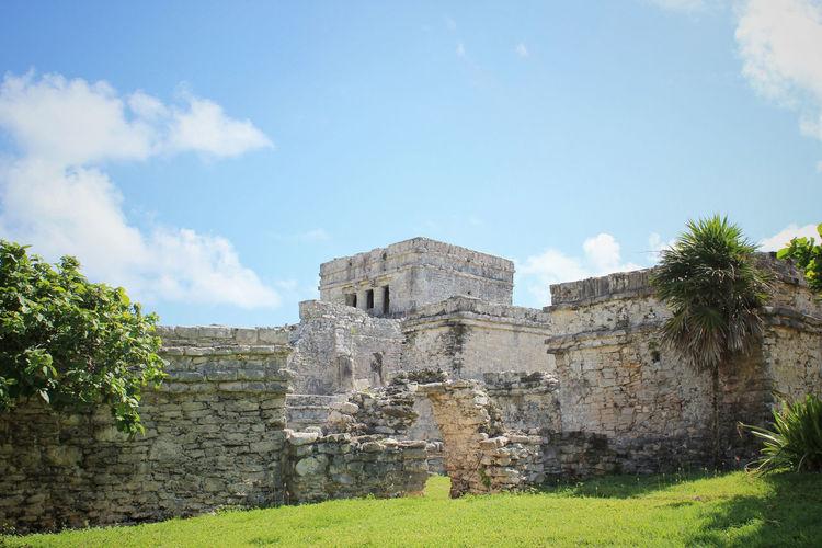 Exterior Of Mayan Ruins Against Sky