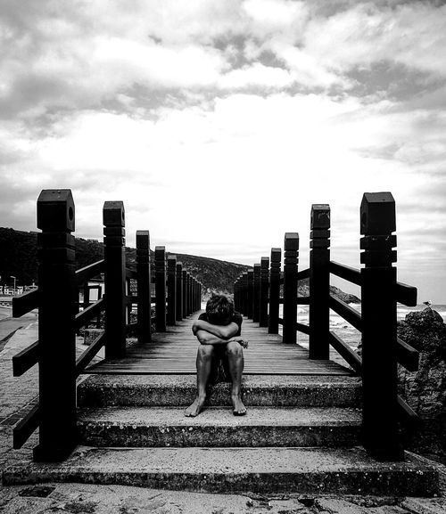 EyeEmNewHere Outdoors Real People Boy Sulk Boardwalk Ocean Grayscale Portrait Blackandwhite Innocence Vulnerability  Lessonslearned Love Growth Western Cape Heroldsbay South Africa