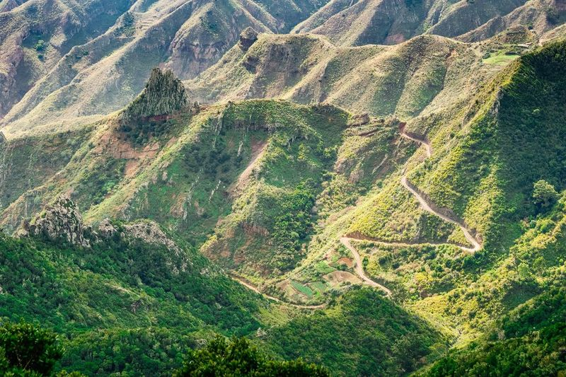 High Angle View Of Green Mountains