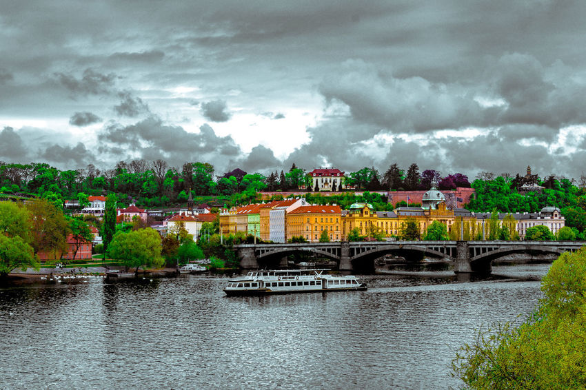Cityscape #NSFM Prague Czech Republic Architecture Black&color Bridge - Man Made Structure Building Exterior Built Structure City Cityscape Cloud - Sky Day Medieval Nature No People Old Outdoors Sky Storm Cloud Transportation Tree Water