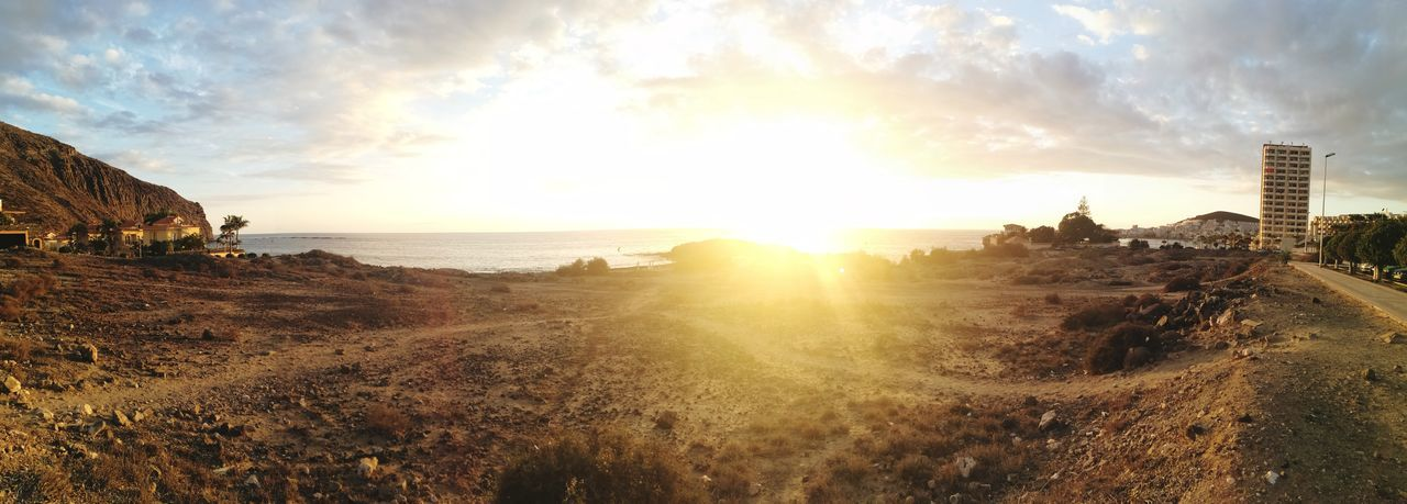 Panoramic view of sunset over sea