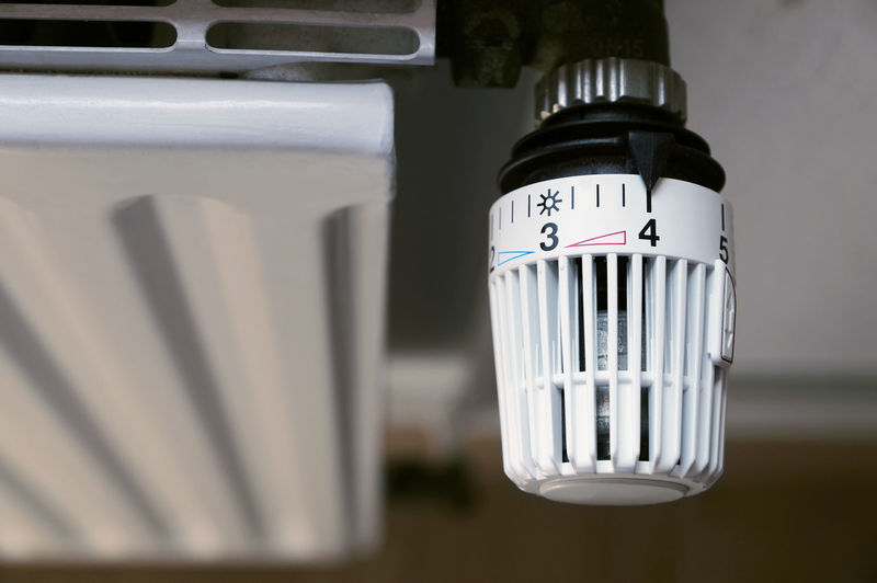 Close-up of radiator thermostat at home