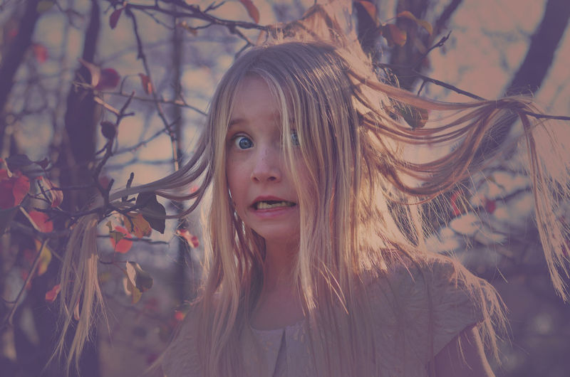 Emma Blonde Child Confused Girl Headshot Long Hair Portrait Tangled Trapped