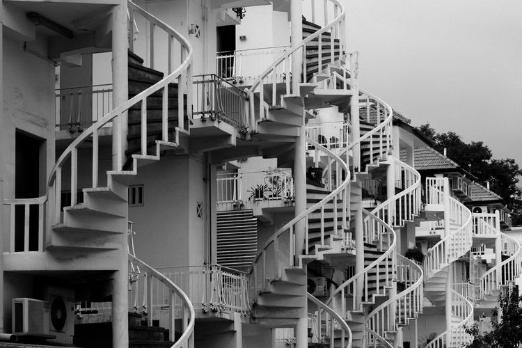somewhere in S'pore Architecture Blackandwhite Building Building Exterior Built Structure Circular City Day No People Repetition Residential Building Singapore Stairs