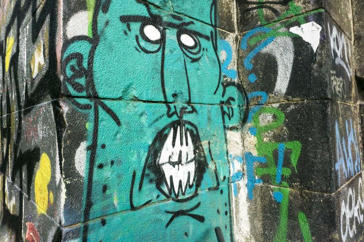 Cartoonish graffiti Cartoonish Character Creativity Fierce Graffiti Street Art Urban Wall