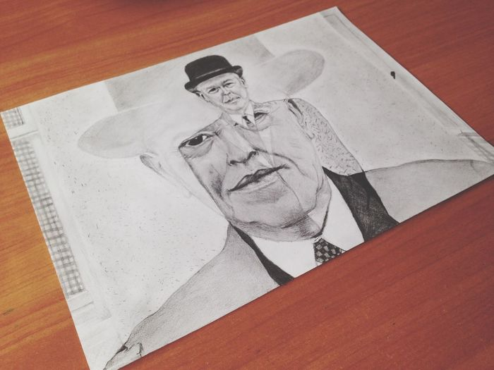 Rene Magritte as he is. Art Scetch Drawing Pencil An Old Man