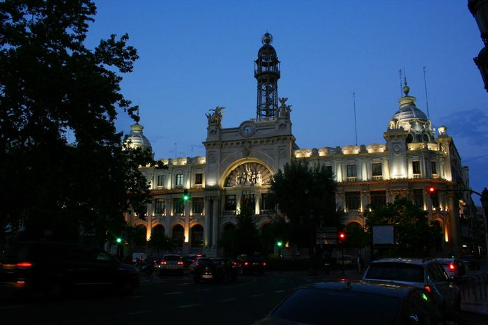 Valencia like an opera diva wears diamonds in the night. Architecture Cities At Night Façade Famous Place Illuminated Night City Night City Lights Nigth Ligths Street Photography Telegraph Travel Destinations Urban Life Valencia, Spain Turn Your Lights Down Low Overnight Success