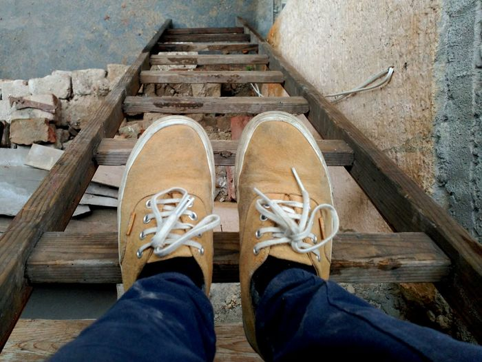 Stairs Man Made Object Feet Work Construction Work Yellow Blue Laces Lookingdownatyourfeet Differentday Different Perspective Autumnishere Autmncolors