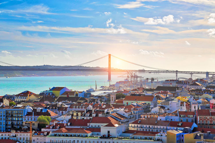 Lisbon panoramic view from Saint George Castle (Sao Jorge) lookout Lisbon Lisboa Portugal No People Nobody Saint George Castle Sao Jorge Castle Panoramic Panorama View Landscape Fortress Sightseeing Travel Destinations Famous Places Interesting 25 Of April Bridge Sunset Architecture Europe Attraction High Angle View Wall