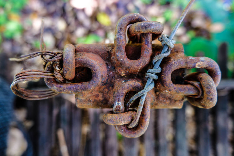 Abandoned Chain Close-up Damaged Day Decline Deterioration Focus On Foreground Iron Latch Metal No People Obsolete Old Outdoors Protection Run-down Rusty Safety Security Selective Focus Weathered