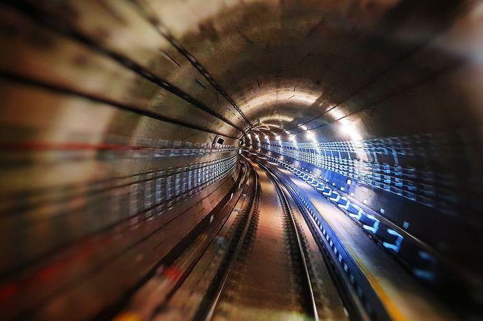 Subway Tunnels Close-up vanishing point Diminishing Perspective Railroad Track Rail Transportation Pathway