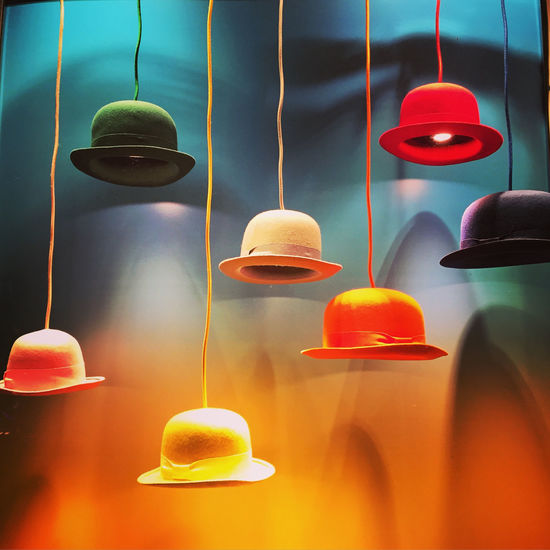 Choice Choices Close-up Decoration Decorative Hanging Hats Indoors  Lines Multi Colored No People Orange Theme Retail  Cover Photo Background For Quotes Presentation Background