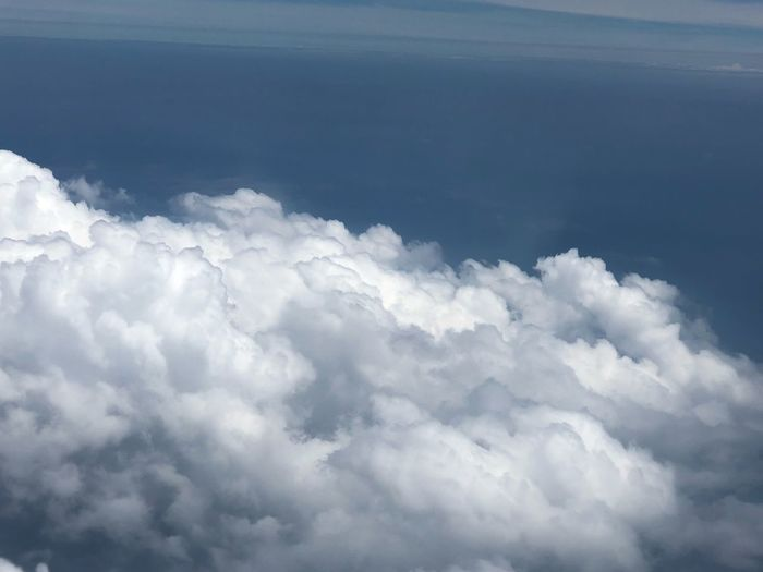 Cloud - Sky Sky Beauty In Nature Scenics - Nature Tranquility Nature No People Cloudscape Day Outdoors Tranquil Scene White Color Fluffy Aerial View Backgrounds Meteorology Idyllic Blue Airplane Softness