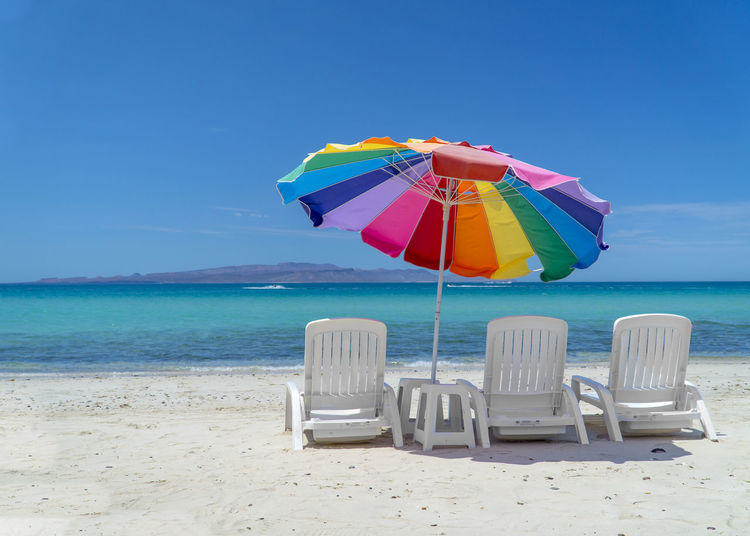 Have a seat and a cold one! Beach Beauty In Nature Blue Clear Sky Day Horizon Over Water Multi Colored Nature No People Outdoors Sand Scenics Sea Shore Sky Tranquil Scene Tranquility Vacations Water