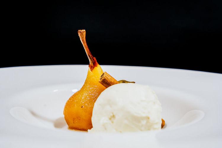Close-up of ice cream on plate