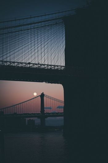 Brooklyn Bridge silhouette Suspension Bridge Connection Bridge - Man Made Structure Built Structure Engineering Architecture Sky Sunset Silhouette Water Building Exterior No People Travel Destinations Outdoors Day First Eyeem Photo Welcome To Black