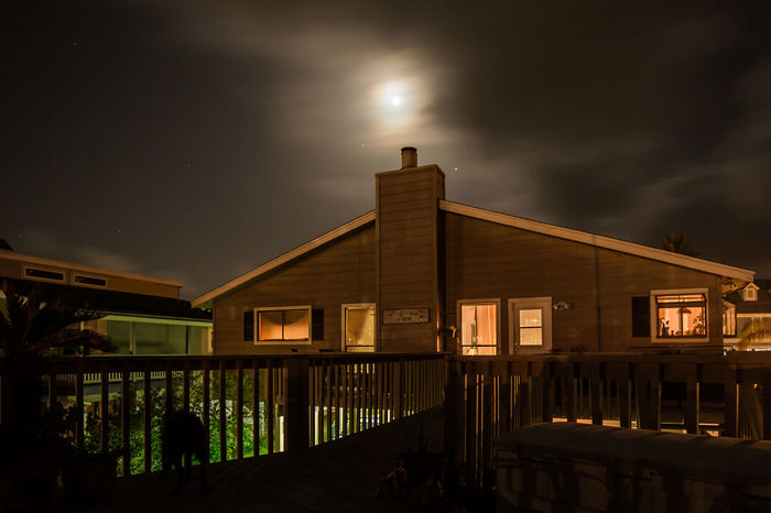 Architecture Building Exterior Built Structure Cloud - Sky House House At Night Illuminated Moon Moon Moon And Clouds Moon In Clouds Nature Night No People Outdoors Sky Water Window Lights