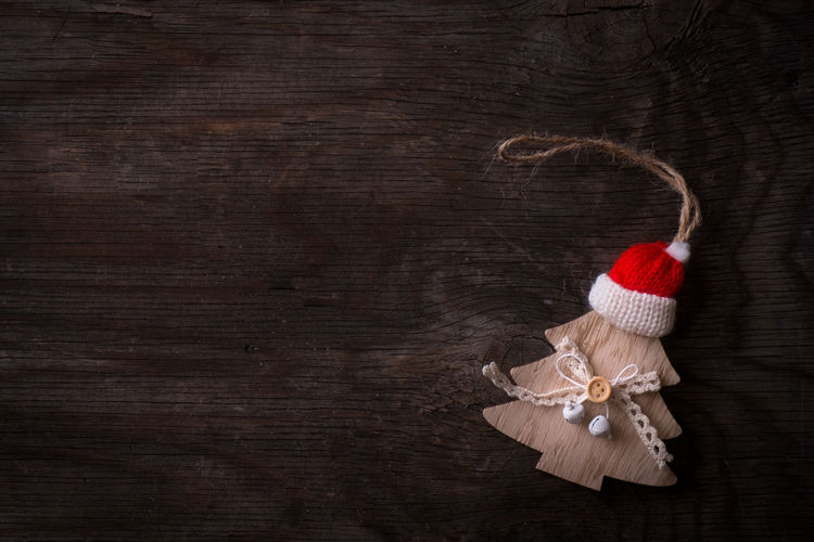 Santa Claus Santa Hat Xmas Xmas Decorations Childhood Christmas Christmas Decoration Close-up Copy Space Day Indoors  No People Red Rustic Studio Shot Wood - Material Xmas Time