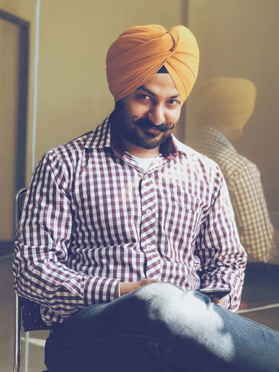 Yours truly 😊😇 InMakin! Randomness Reflection ThatsMe Me Selective Focus Self Portrait Portrait Moustache Smiling Smile Natural Light Sikh PhonePhotography Only Men One Man Only Adults Only Portrait Adult One Person Indoors  Inner Power