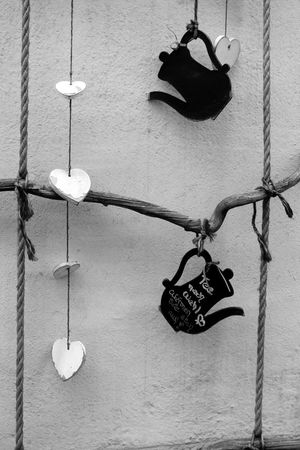 Happy sunday ❤️💋✌️ Hanging Man Made Object No People Picsartrefugees Mayen Tea Blackandwhite Blackandwhite Photography Decoration Heart Shape