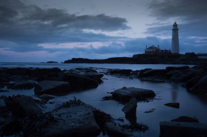 Another from tonight Newcastle Upon Tyne Lighthouse Clouds And Sky Sea Long Exposure Waves St Marys Lighthouse