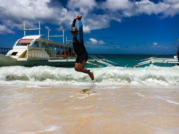 Jump shot Puka Beach Boracay Jumpshot Sea Water Sky Cloud - Sky Motion Wave Mid-air Jumping Sand Beach This Is Queer