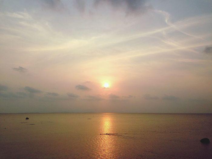 Sunset Sky Water Scenics - Nature Sea Horizon Over Water Beauty In Nature Horizon Cloud - Sky Sunset Tranquility Tranquil Scene Sun Land Beach Nature Idyllic Reflection Orange Color Sunlight