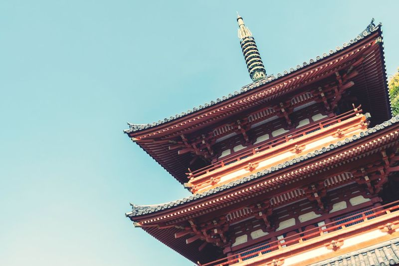 Low Angle View Architecture Building Exterior Built Structure Clear Sky No People Day Tradition Outdoors Sky Japan Temple Japan Photography