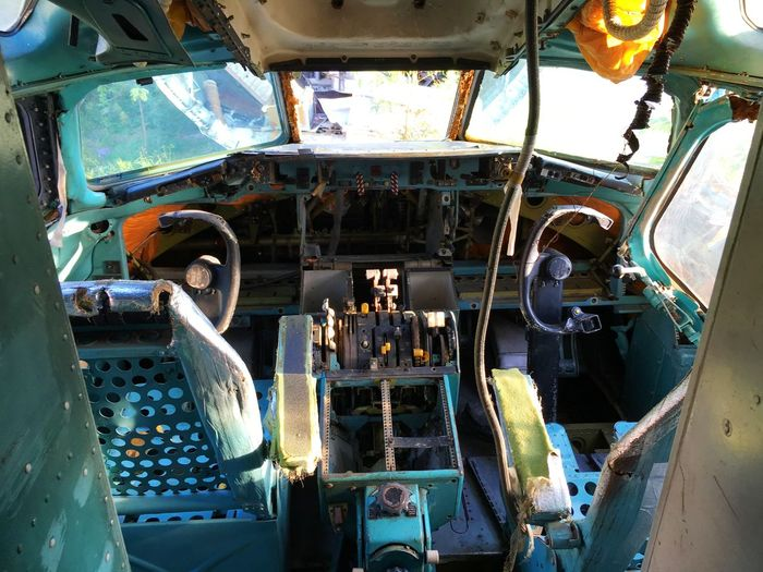 Abandoned airplane cockpit