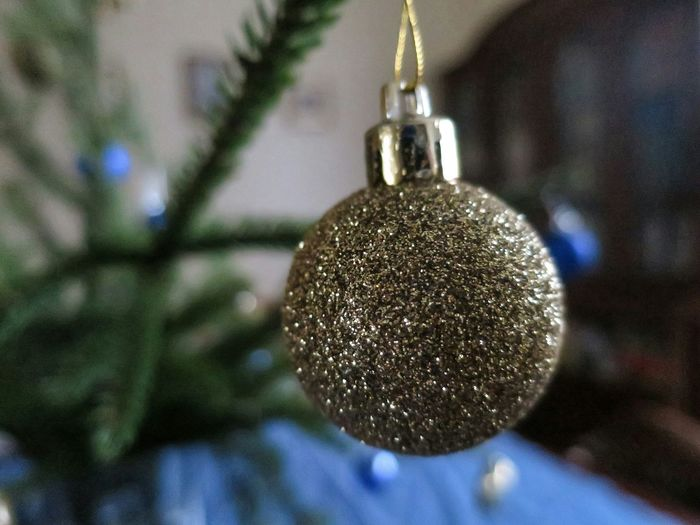 New Year Decoration Gold Ball Close Up Shallow Depth Of Field ???