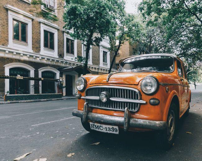 Car Vintage Cars Orange Mumbai Victorian Cars Colors Ambassador India Indiapictures Bombay Old Buildings