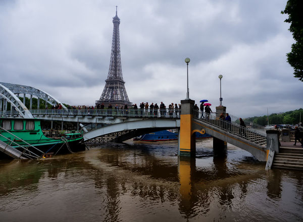 June 3, 2016. Floodwaters in Paris continue to rise with the River Seine with a peak of up to 6.5mis. Seine river is rising towards the point where it might flood the city and cause widespread disruptions. Architecture Artistic Beautiful Black & White Black And White Blackandwhite City City View  Cityscapes Contrast Eiffel Tower Flood Floods Odd Paris Romantic Seine Seine River Street Photography Streetphotography The Street Photographer - 2016 EyeEm Awards Underwater Urban Urbanphotography Water