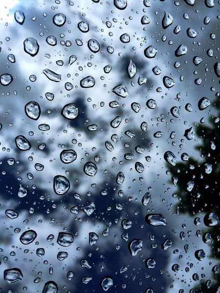 Full Frame Backgrounds Drop Window No People Close-up Day Outdoors Nature Water Sunroof Sky And Clouds Rain Raindrops Zen Relaxing Copy Space Sky