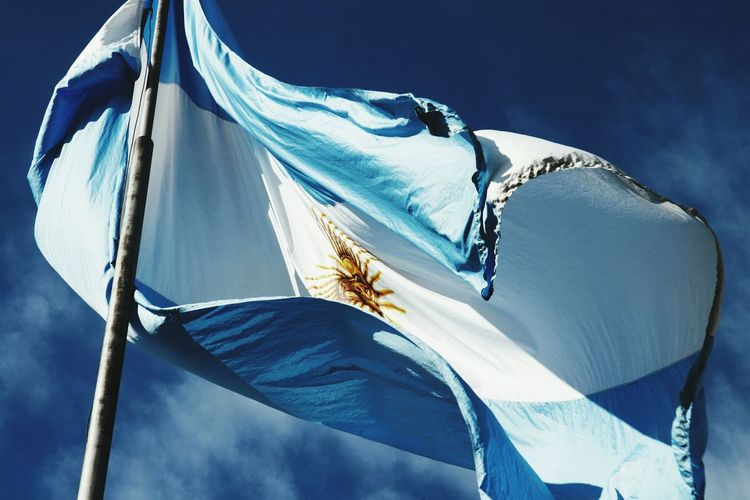 Flag Of Argentina Against Sky