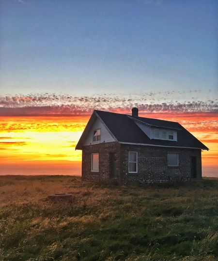 Tonight's Sunset Built Structure House Architecture Building Exterior Sunset No People Sky Country House Residential Building Outdoors Barn Grass Nature Farmhouse Day Clear Sky