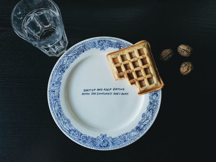 Shut up and eat.Text Food Keaton Henson Waffle Plate Pottery Art Eat Blue