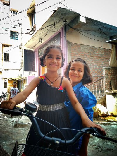 Child Portrait Childhood Smiling Girls Looking At Camera Happiness Standing Togetherness Friendship