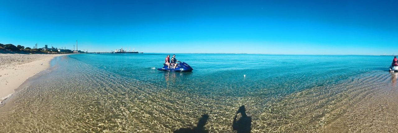 Sea Blue Clear Sky Beach Sand One Person Sunlight Nature Adults Only Beauty In Nature Outdoors Nautical Vessel Vacations Tranquility Day Tranquil Scene Adult Scenics Real People Leisure Activity EyeEmNewHere