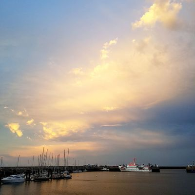 Sea Beach Sunset Nautical Vessel Water Horizon Over Water Cloud - Sky Sun Reflection No People Sky Tranquility Silhouette Summer Sunlight Awe Outdoors Transportation Travel Destinations Vacations