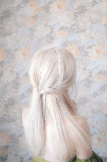 Blond Hair Females Braided Pastel Colored Women Long Hair Rear View Beauty Close-up Braided Hair Hairstyle Hair