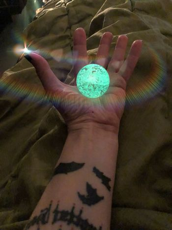 My magic glowing ball!✨ Glass Ball Tattoo Glowinthedark Glowing Glow Hand