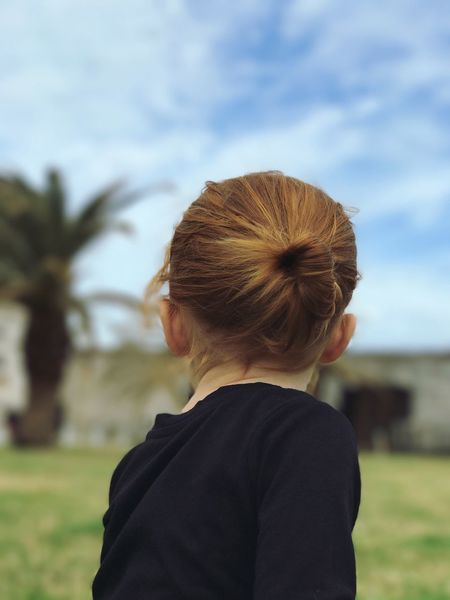 That red hair! Bermuda Dockyard Toddler  Toddlerlife Daddydaughtertime Rear View Focus On Foreground Hair Bun Sky Headshot Real People One Person Outdoors Day Close-up Nature Well-dressed Redhead Redhair