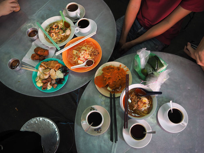 Penang food Wetmarket Hawker Hawker Food Hawkerfood Penang Penangfood Penang Malaysia Penang Food Penang Food, Chinese Food Jawa Mee Hokkien Mee Lor Bak Pasembur Nyonyakuih Penang Island Food High Angle View Table Food And Drink Directly Above Plate Variation Coffee - Drink Meal Coffee Cup
