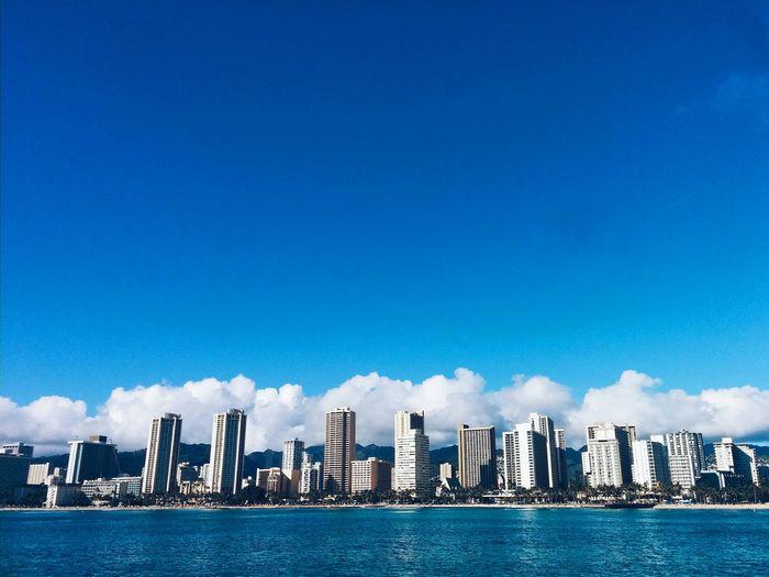 Waikiki skyline from the ocean. Waikiki Hawaii Honolulu  Ocean OceanCity Oceanside Cityscape Beach Oceanfront Buildings & Sky